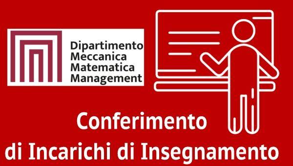 Bando di Selezione n. 5 per il Conferimento di Incarichi di Insegnamento Afferenti al DMMM A.A. 2020/2021